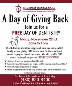 free dental cleaning and filling on Arizona